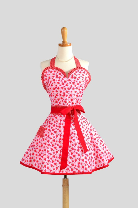 Sexy Retro Pinup Apron : Flirty and Cute Red and Pink Strawberry Tea Party Sweetheart apron with Red Dot Trim in Vintage Style Full Skirt