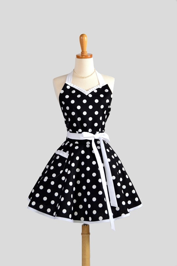 Sweetheart Retro Apron - Sexy Cute Womens Apron Black and White Polka Dot Flirty Full Kitchen Apron