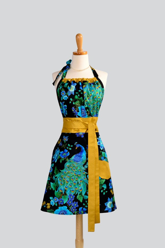 Cute Kitsch Retro Apron / Asian Influence Handmade Full Womens Apron features Peacock Trimmed in Peacock Feathers in Gold