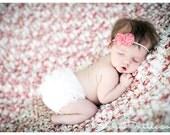 Baby Girl- GREAT Price-Cream Chiffon ruffle Bum Baby Bloomer Diaper Cover and Baby Girl Itty bitty headband- Perfect Photo Prop