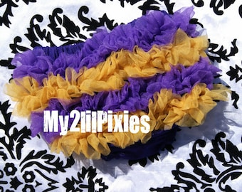 Baltimore Ravens Baby Bloomer, Chiffon ruffle bum bloomer, Purple and Gold baby bloomer , Ruffle Diaper cover, Newborn Bloomer
