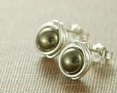 Pyrite Post Earrings Sterling Silver, Rustic Gemstone Stud Earrings, Modern Jewelry, aubepine