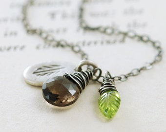 Autumn Gemstone Necklace, Smoky Quartz Peridot Leaf, Rustic Feather Charm Pendant Necklace in  Sterling Silver