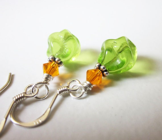 Lime Green & Orange Earrings in Sterling Silver. Vintage Glass, Swarovski Crystal. OOAK / One of a Kind. For Her