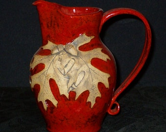 Red Pitcher with Oak Leaves and Acorns