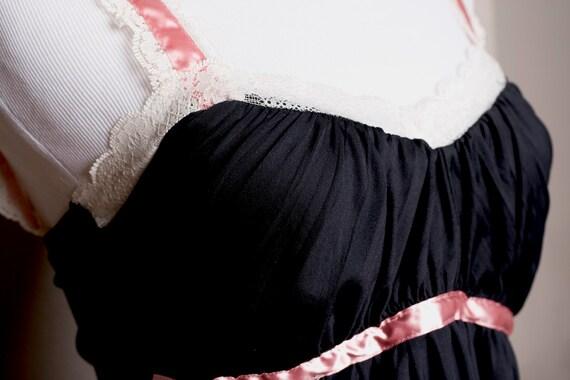 Vintage Black Babydoll Lingerie - Size Small