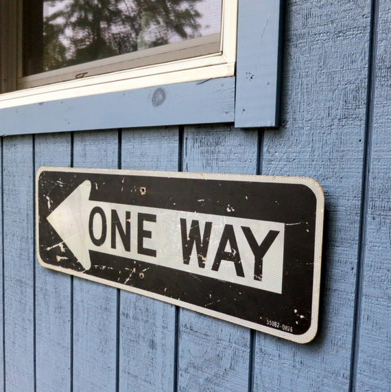 One Way Metal Street Sign Large 3 Foot Black and White Old Retired Road Sign for Dorm Room or Student Room - Road Salvage