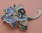 Reserved for Stas - Huge Nolan Miller Rhinestone Brooch Purple Blue Flower