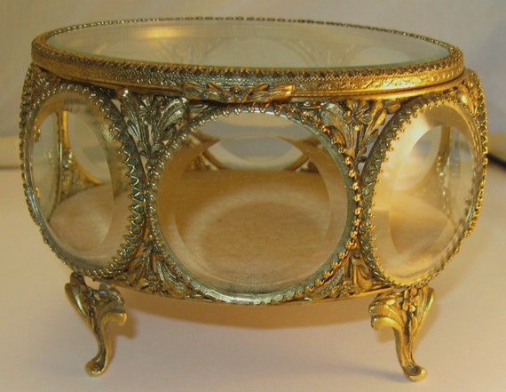 Hollywood Rgency Jewelry Box Stylebuilt Beveled Glass Windows Gold Gilt