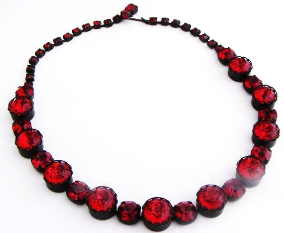 Vintage Red Rhinestone Headlight Necklace Japanned Setting