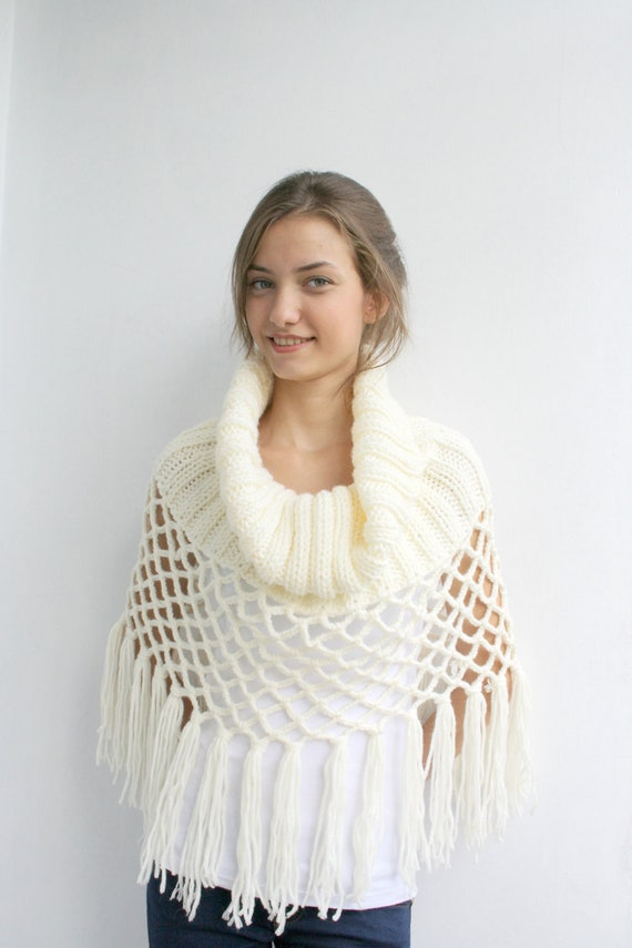 Ivory Knit Poncho Capelet  Gift under75