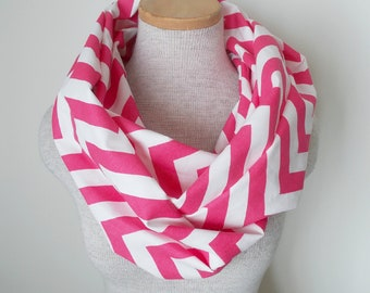 READY TO SHIP - Chevron Infinity Scarf - Jersey Knit - Hot Pink and White