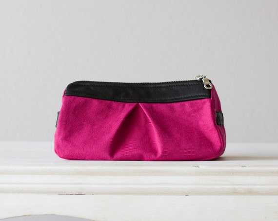 cosmetic case, makeup bag in Fuchsia cotton denim and black leather
