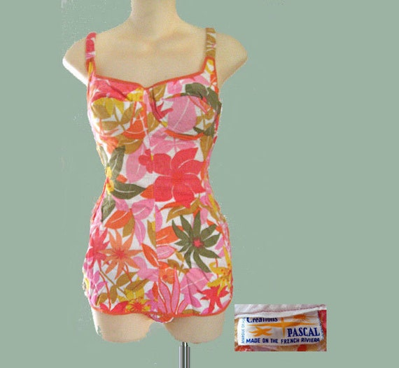 SALE REDUCED Vintage 60s Tropical Print Swimsuit PASCAL French Riviera Cotton Barkcloth