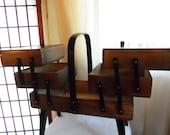 Vintage Wood Modern Accordian Sewing Box Basket Chest