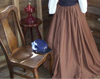 Renaissance Skirt Pirate Skirt Renaissance Costume Civil War Long Skirt colors available