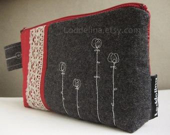 Zipper pouch in dark grey wool with burgundy red silk, linen lace and embroidery