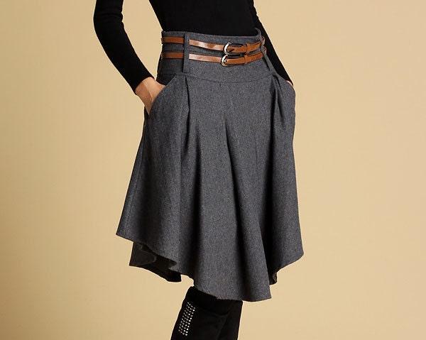 grey skirt skater skirt mini skirt winter skirt wool
