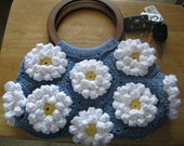 Denim and Daisies Blue, white and Yellow Crocheted Flower purse or Bag with Wood Handles