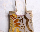 Gold Copper tapestry tote bag with burlap