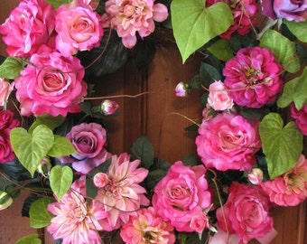 Romantic Floral Wreath, Beautiful Pink Roses, Zinnias and Dahlias, for Door, Wall, or Wedding