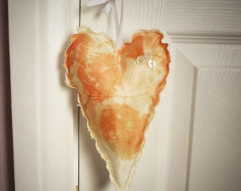 Eco Printed Plush Decorative Heart - Home Decor - Naturally Dyed - Shabby Chic - Gift Wrapped