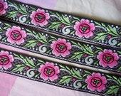 2 yds, 1 inch wide Vintage Pink Flower on Black Jacquard Ribbon