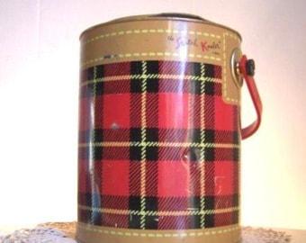 Vintage 1950s Red Plaid Litho SKOTCH KOOLER by Hamilton Skotch