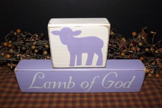 Lamb of God primitive wood blocks sign