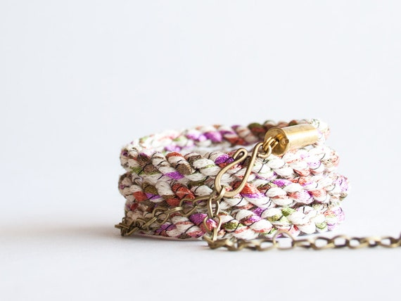 Braided wrap bracelet - muted textile brass multicolor