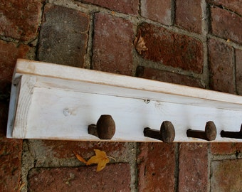 "Railroad Spike - Coat Rack - Rustic Home Decor - Wall Shelf - Hooks - 40"" - Primitive - Rustic - Beach Cottage - Entry - Entryway Storage"