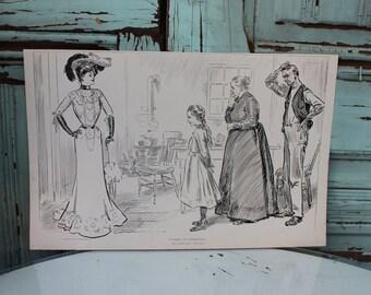 Antique Gibson Girl Print - The Weaker Sex - Charles Dana Gibson - Circa 1903