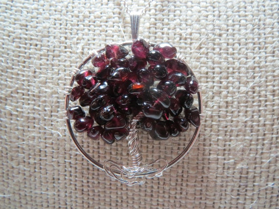 Garnet Tree of Life Wire Wrapped Silver Pendant Necklace