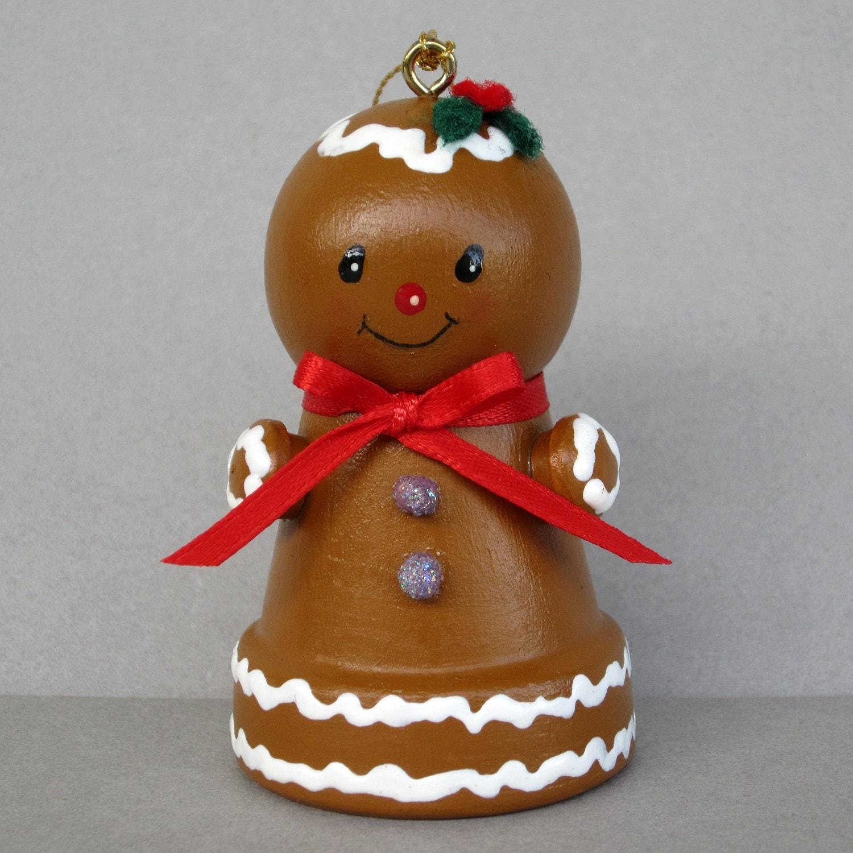 Christmas Gingerbread Flowerpot Bell Ornament