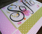 Sassy Sophia, posh large personalized 16x20, pink and green patterns and flowers, hand painted stretched canvas wall art