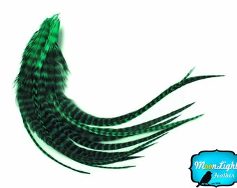 Real Rooster Feathers, 1 Dozen - MEDIUM PEACOCK GREEN Grizzly Rooster Hair Extension Feathers: 543