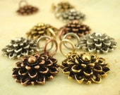 4 Mum Charms - Chrysanthemum Flowers - Made in the USA - You Pick Finish - With Handmade Jump Rings - 100% Guarantee