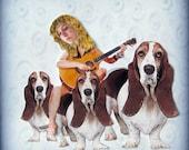 basset hound, dog portrait, animal art, dog art, blue home decor, shabby chic, sad, pensive, guitar, woman, pet collage, tagt team, pet art