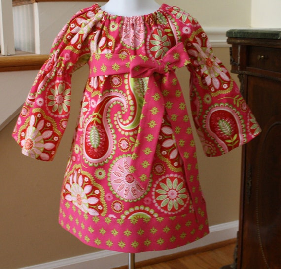 CUSTOM LISTING for Stephanie Girls Peasant Dress gypsy bandana pink paisley michael miller toddler dress