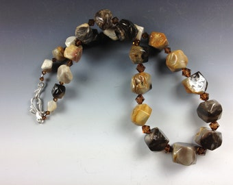 SALE Chunky Wood Agate (Petrified Wood) Necklace with Smokey Topaz Swarovski Crystals and Sterling Silver- 2123ND