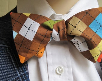 Chocolate Argyle Bow Tie