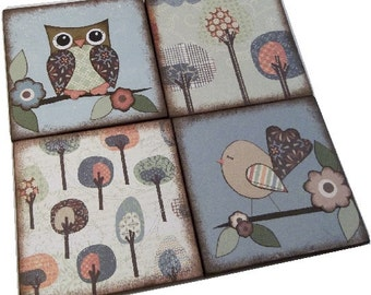 Coasters, Set of (4) Decoupaged Handcrafted Wooden Drink Coasters, Owl, Bird Coasters,  MADE TO ORDER