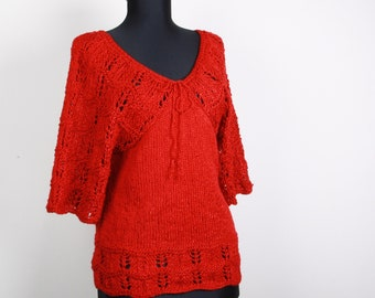 Knitted Red sweater ,tunic,