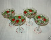Hand Painted set of 4 Margarita Glasses with Strawberries