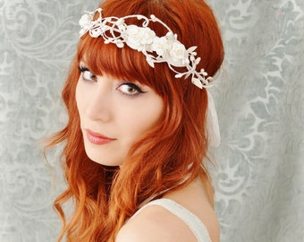 White flower crown, bridal headpiece, vintage inspired wedding head piece, circlet, rose hair wreath, hair accessories by gardens of whimsy