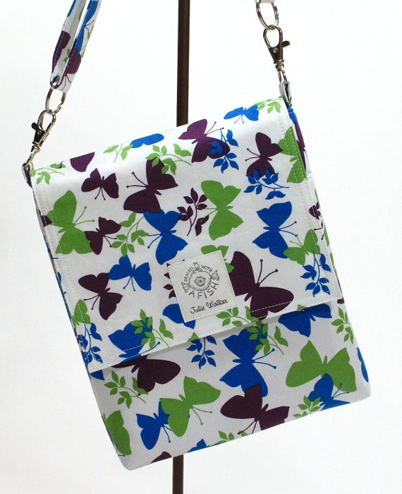 The not so Mini Messenger bag with cross body strap in Blue, Green and Purple Butterflies