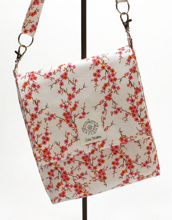 The not so Mini Messenger bag with cross body strap in Pink Flowers and Twigs