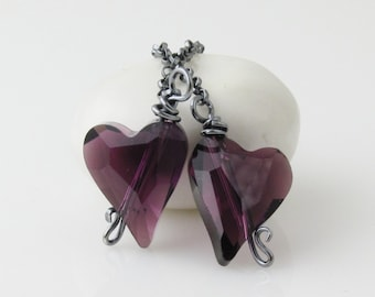 Dark Purple Heart Lariat Necklace, Purple Necklace, Purple Lariat, Purple Crystal Necklace, Dark Heart Necklace, Silver Oxidized Necklace