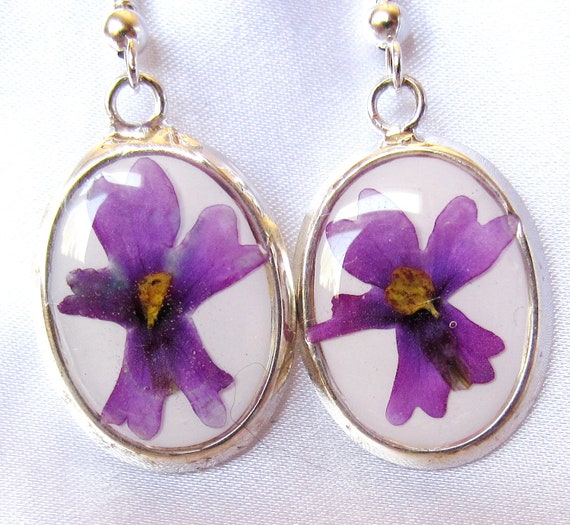 Purple Hurrah,  Earrings, Real Flowers, Resin, Gold Plated  Brass (1041)