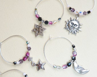 Sun, Moon, and Stars Wine Glass Charms- Set of 6